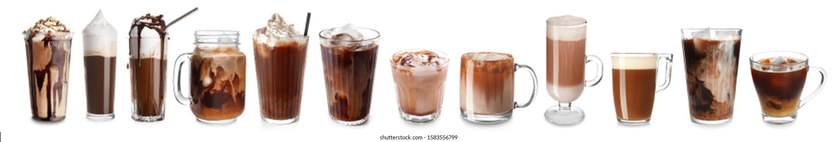 Set of glassware with different coffee on white background