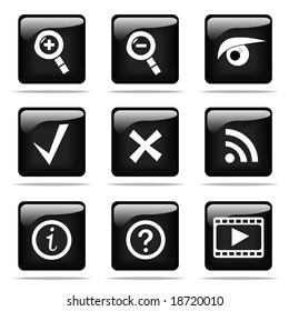 Set of glossy buttons with icons. Black and white series.