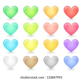 Set of glossy hearts in pastel colors