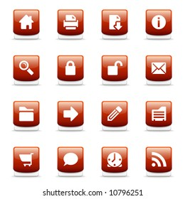 Set of glossy red web and internet icons