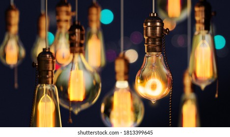 Set of Glowing and illuminating lamps hanging on the wire on diwali festival time . Incandescent lamp, Retro edition lamps