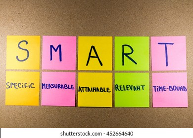set goals SMART (specific, measurable, attainable, recorded, timely) colorful sticky notes on cork bulletin board