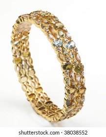 set of Gold bangles with diamonds