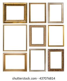 Set of  gold frames. Isolated over white background