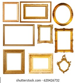 Set of   gold frames. Isolated over white background, may be used for photo or picture