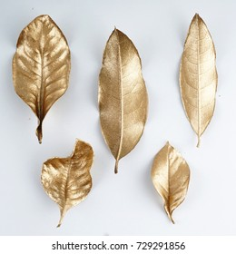 set of gold leaves. Christmas decoration. gold leaf.