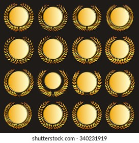 Set gold medal and laurels on dark background. Design element for construction of medals, awards, coat of arms or anniversary logo.  Raster version.