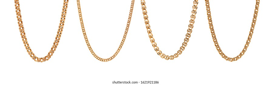 Set of gold men chains on a clean white background photo.
