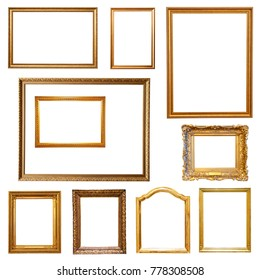 Set of gold picture  frames. Isolated on white, may be used for any image