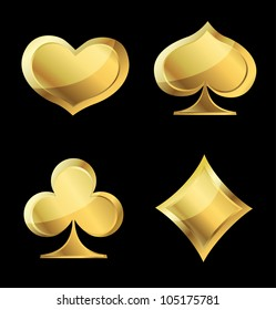 Set of gold playing cards symbols