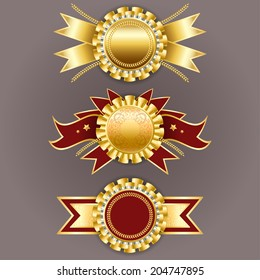 Set of gold and red badges with ribbons. Best quality emblem. Champion medals.