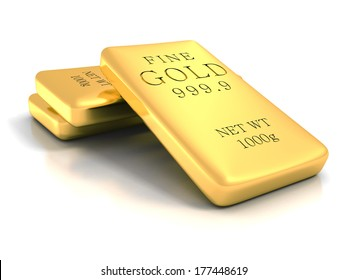 Set of gold shiny bullion bars on white reflection background. realistic 3d render illustration. welth tresure business concept
