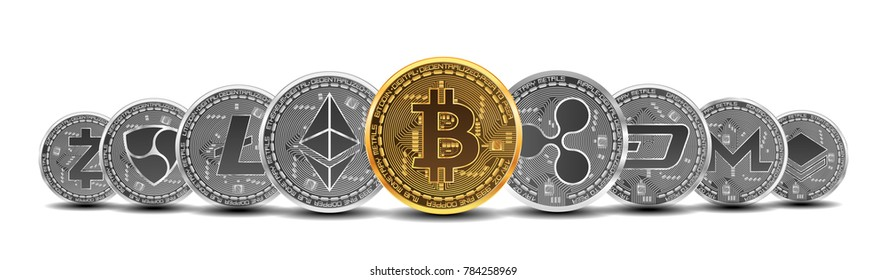 Set of gold and silver crypto currencies with golden bitcoin in front of other crypto currencies as leader isolated on white background. illustration. Use for logos, print products