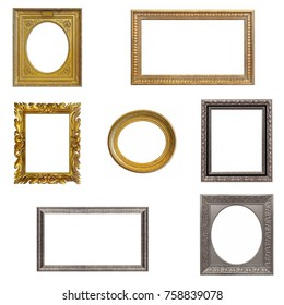 Set of gold, silver and wooden frames isolated on white