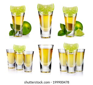 Set of gold tequila shot with lime fruits isolated on white background