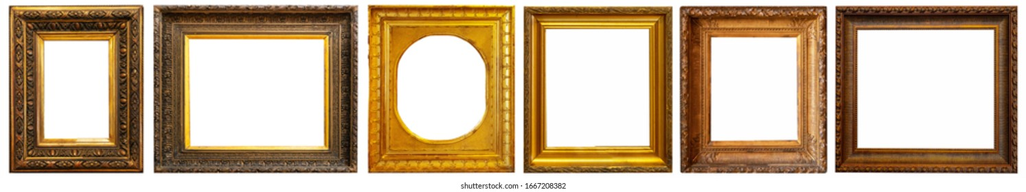 Set of golden antique frames on a white background isolated