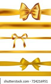 set of golden bows on white. raster illustration