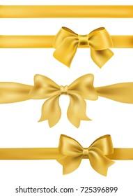 set of golden bows and ribbons on white. decorative design elements raster illustration