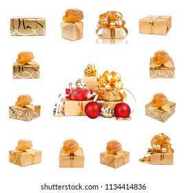 Set of golden festive gift boxes with Christmas balls on white isolated background