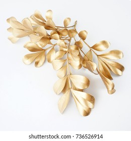 Set of golden floral design elements. Decoration elements for invitation, wedding cards, valentines day, greeting cards. Isolated.