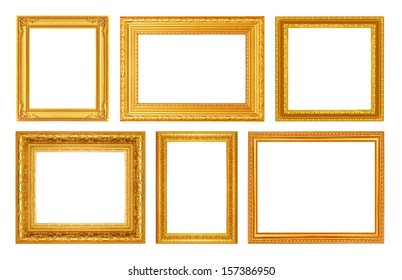 Set of golden frame isolated on white background
