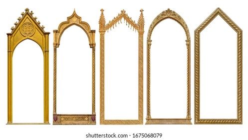 Set of golden gothic frames for paintings, mirrors or photo isolated on white background