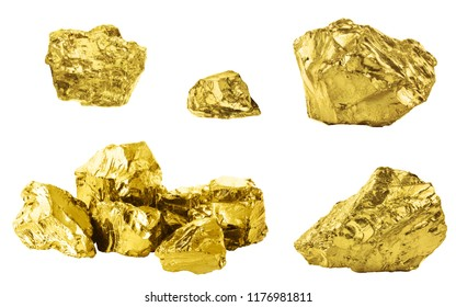 Set of golden nuggets isolated on white background. Different bars of gold isolated on white background