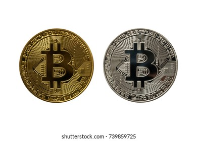 Set of golden and silver bitcoins isolated on white background. Close up.