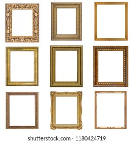 Set of golden and silver frames for paintings, mirrors or photos