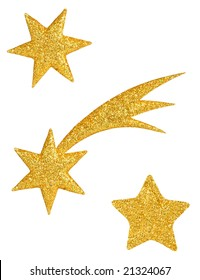 Set of golden stars isolated on white background ready for cut and paste