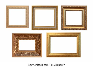 Set of golden vintage frame isolated on white background. with clipping path