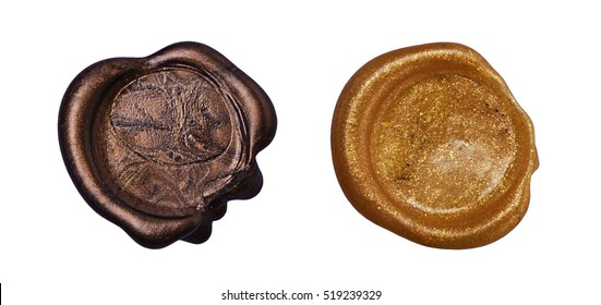 Set of golden wax seal isolated on white background