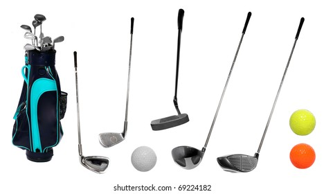 Set of golf clubs and bag with balls.