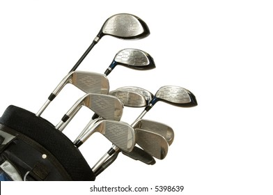 Set of Golf clubs on white background, including irons, metal woods and a putter in a golf bag