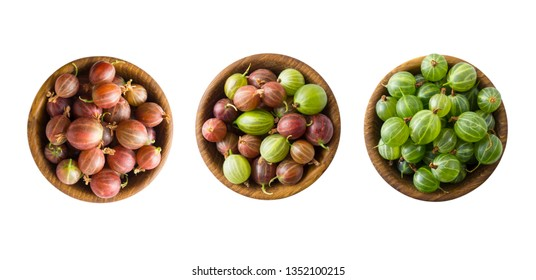 Set of gooseberry. Gooseberries fruits isolated on white background. Gooseberries in a bowl with copy space for text. Green and red gooseberry isolated on white. Sweet and juicy berry. Top view.