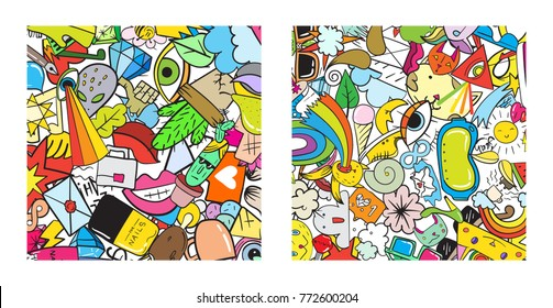 Set of Graffiti pattern with urban lifestyle line icons. Crazy doodle abstract Raster background. Trendy linear style collage with bizarre street art elements.
