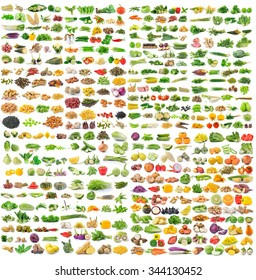 set of grains and vegetable on white background