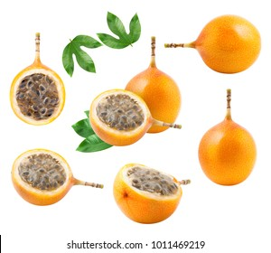 A set of granadilla fruit isolated on white background. Collection of design elements.Clipping path included.