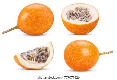 Set granadilla fruit whole, cut in  half, slice isolated on white background. Clipping Path. Full depth of field.