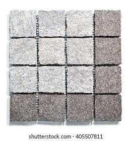 Set of granite paving stones on a white background