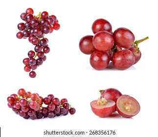 Set of grapes isolated on over white background.