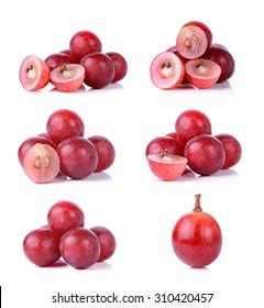Set of grapes isolated on over white background .