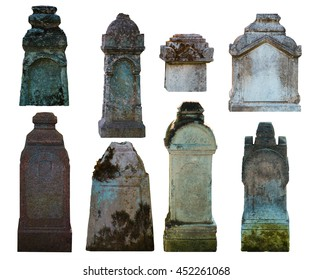 Set of gravestones, isolated on white.