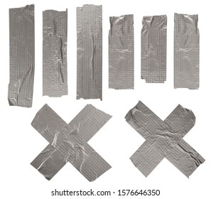 Set of gray adhesive tapes isolated on white background