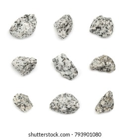 Set of Gray Granite Stones Isolated. Basalt Pieces Top View