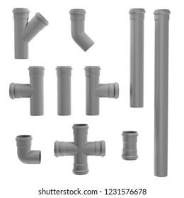 Set of gray PVC sewage pipe fittings shot on white