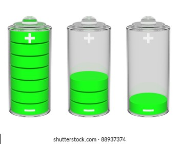 Set of green batteries