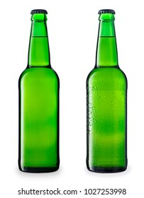 set of green beer bottles isolated on white background
