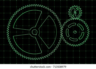 Set of green gears and cogs on virtual screen. Technological background. 3D rendering illustration