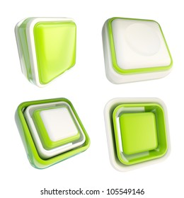 Set of green glossy plastic copyspace template buttons isolated on white
